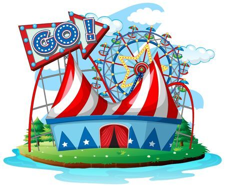 Scene with ferris wheels at the circus on white background illustration Illustration