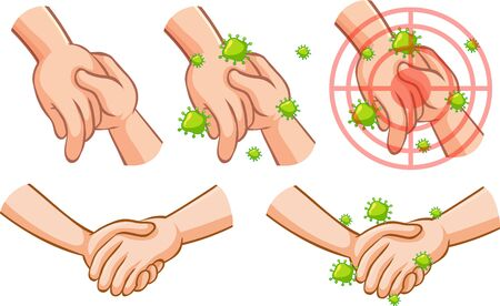 Coronavirus theme with hand full of germs touching other hand illustration