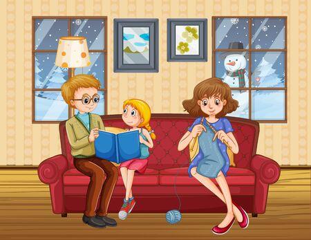 Bonne famille reste à la maison pendant l'hiver illustration Vecteurs