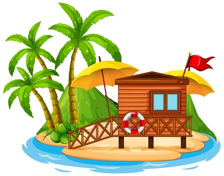 Scene with wooden hut on the beach on white background illustration
