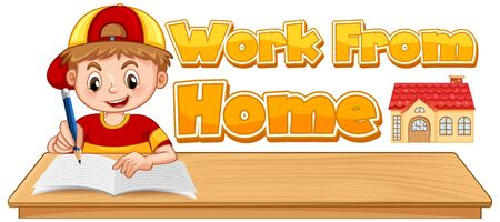 Work from home boy with writing position and WFH sign on white background illustration