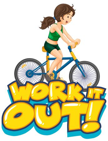 Font design for word work it out with girl on bicycle illustration Çizim