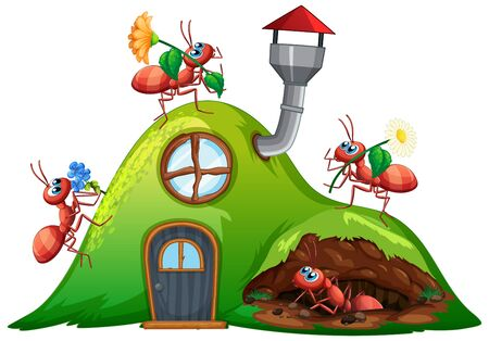 Scene with many ants on hill house illustration