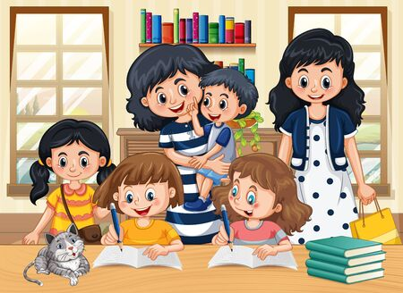 Family member with kids doing homework cartoon character in living room illustration