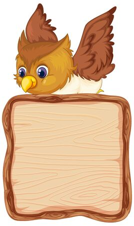 Board template with cute owl on white background illustration Иллюстрация