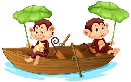 Two monkeys rowing boat in the river illustration