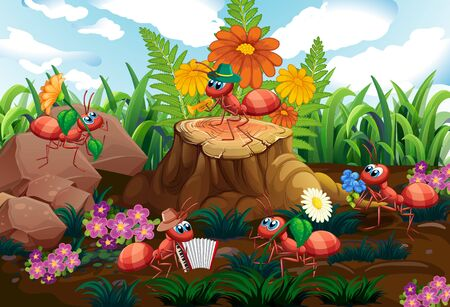 Ant musical band playing in forest illustration Vettoriali