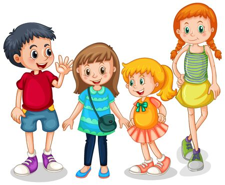 Group of young children illustration