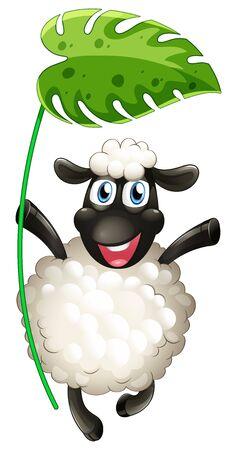 Cute sheep holding big green leaf on white background illustration Ilustracja