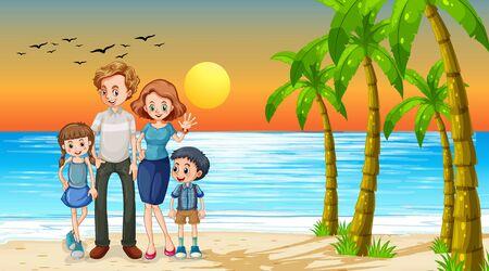 Happy family on holiday illustration