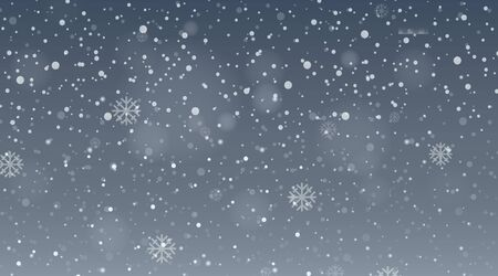 Background design template with snow falling in gray sky illustration