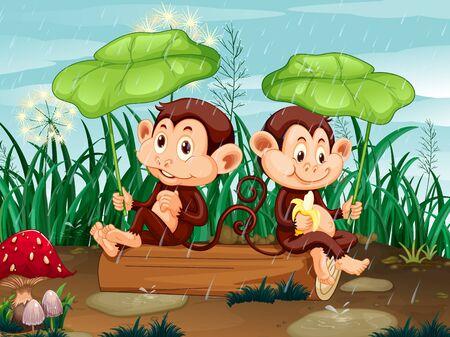 Scene with two monkeys in the rain illustration