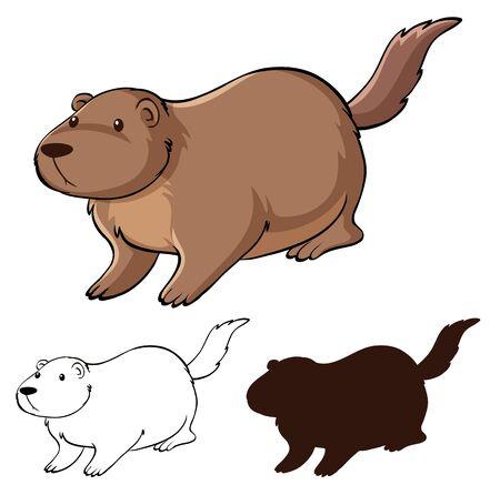 Set of beaver cartoon illustration