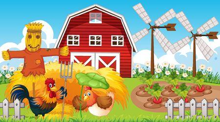 Farm theme background with farm animals  illustration