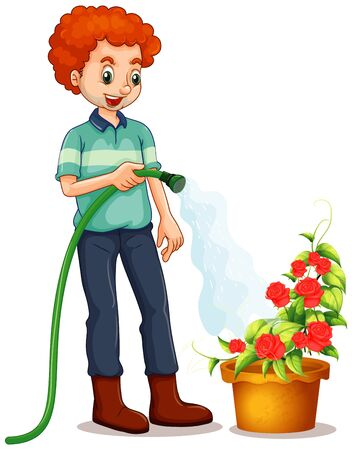 Man watering the roses in the garden illustration