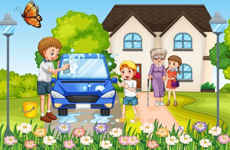 Happy family in front of the house illustration