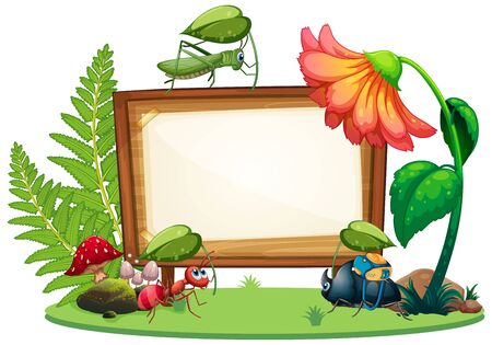 Border template design with insects in the garden background illustration Vektorgrafik