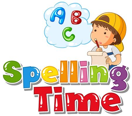 Font design for word spelling time with boy thinking illustration