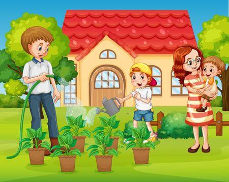 Family at front yard illustration