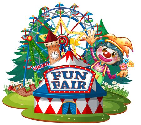 Scene with happy clown at the fair on white background illustration