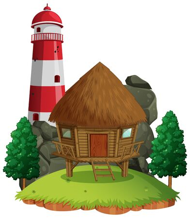Isolated cottage on white background illustration