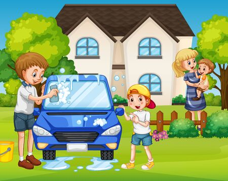 Father and son washing car at front yard illustration