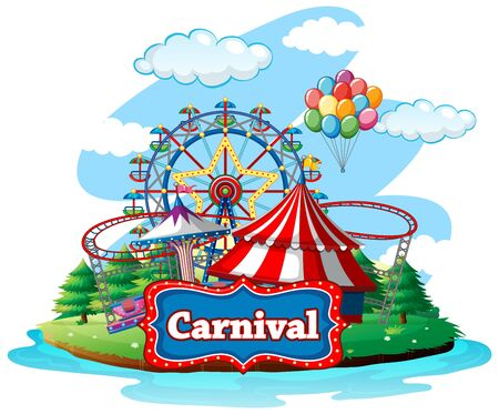 Scene with many rides at carnival on white background illustration