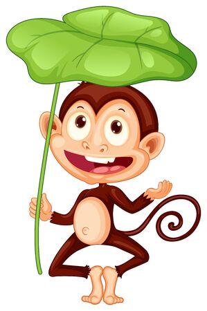 Cute monkey holding big leaf on white background illustration