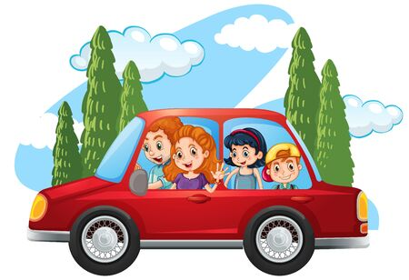 Happy family in the car illustration