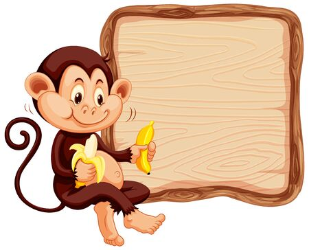 Board template with cute monkey on white background illustration