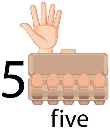 Counting number five with hand gesture and eggs in carton illustration Illustration