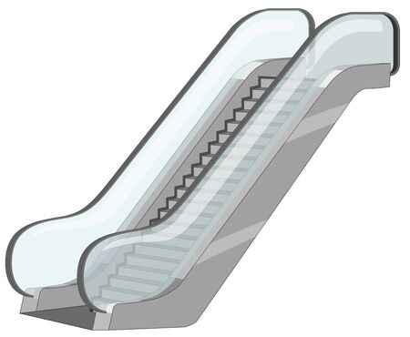 Escalators with glass bars on the side illustration
