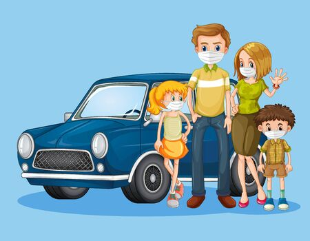 Family with mask in front of the car illustration