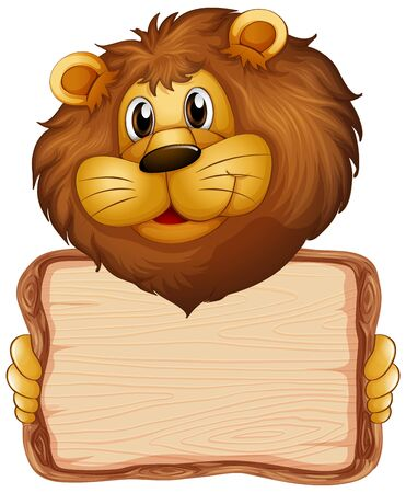 Board template with cute lion on white background illustration
