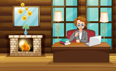 Scene with man working on computer at home illustration Illustration