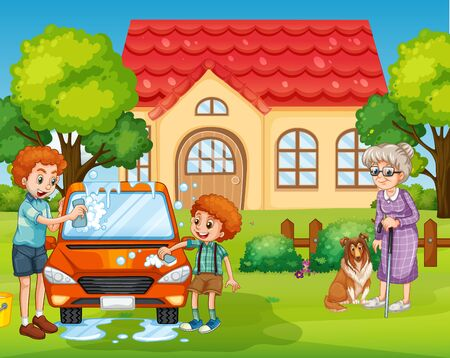 Scene with people staying at home with family illustration