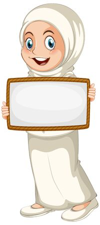 Blank sign template with muslim girl on white background illustration