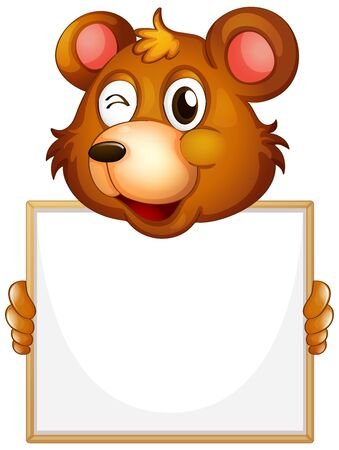 Blank sign template with brown bear on white background illustration