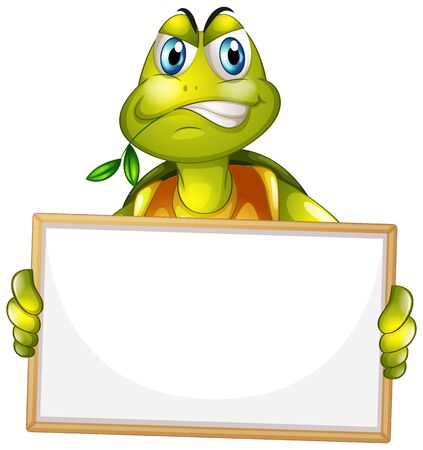 Blank sign template with angry turtle on white background illustration