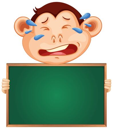 Blank sign template with crying monkey on white background illustration