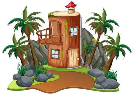 Scene with wooden house on white background illustration