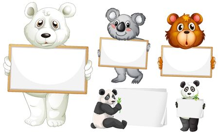 Blank sign template with many animals on white background illustration