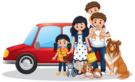 Happy family in front of car illustration