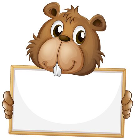 Blank sign template with cute beaver on white background illustration
