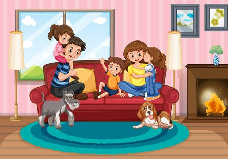 Scene with people in family relaxing at home illustration