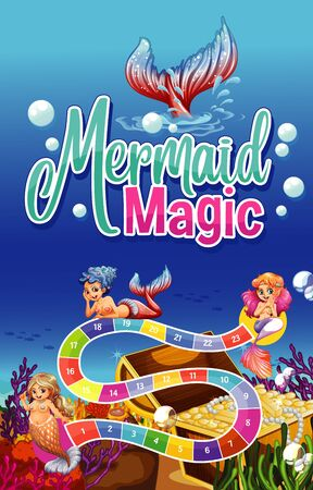 Game template design with mermaid and underwater scene illustration