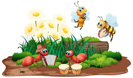 Insect musical band playing in nature illustration