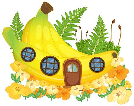 Isolated fantasy banana house illustration