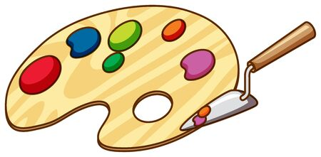 Paint mixer and pallet on white background illustration Ilustração