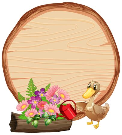 Sign template with animals in garden background illustration